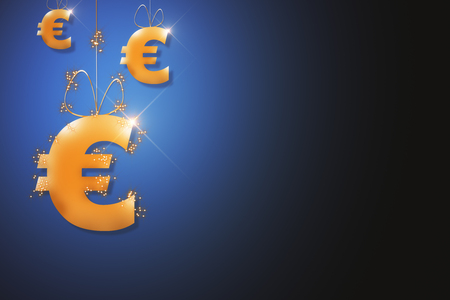 Abstract sparkling golden euro sign hanging on rope. Blue background. Currency concept. 3D Rendering