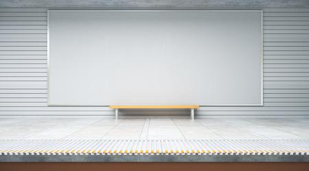 Vooraanzicht van lege affiche binnen metro of metropost met zetel. Reclame, advertentie, winkelconcept. Bespotten, 3D-rendering