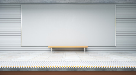 Vue de face de l'affiche vide à l'intérieur de la station de métro ou de métro avec siège. Publicité, publicité, concept de vente au détail. Maquette, rendu 3D Banque d'images - 88683485