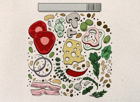 Abstract colorful food jar drawing on gray paper background. Homemade concept  Imagens
