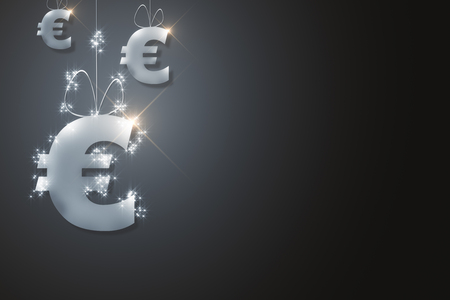 Abstract sparkling silver euro sign hanging on rope. Black background. Banking concept. 3D Rendering Stock Photo - 88770858