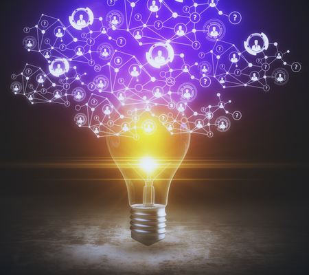 Abstract glowing light bulb on concrete background with polygonal HR network. Recruiting concept. 3D Rendering