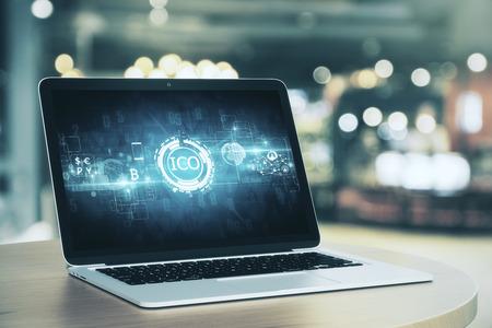 ノート パソコン画面上の抽象の ICO インターフェイス。通貨 exchnage 概念。3 D レンダリング 写真素材