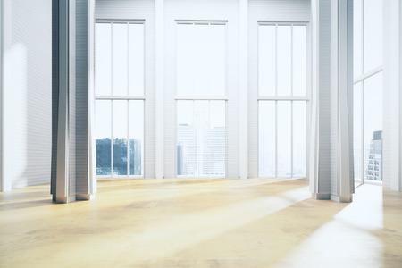 파노라마 도시의 전망과 햇빛과 현대 가벼운 방 인테리어. 3D 렌더링
