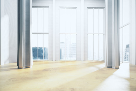 Modern light room interior with panoramic city view and sunlight. 3D Rendering
