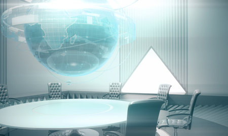 Abstract meeting room with glowing business globe hologram above conference table. Global business and infograph concept. 3D Rendering