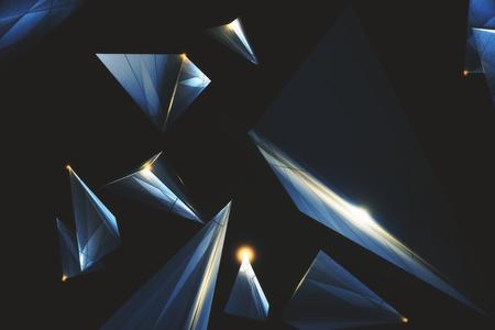 創造的な低ポリゴンの多角形の技術の背景。3D レンダリング