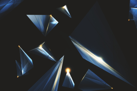Creative low poly polygonal tech backdrop. 3D Rendering