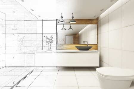 Unfinished modern bathroom interior with refelctions on wall. Architecture concept. 3D Rendering Foto de archivo