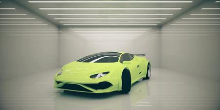 抽象的な照らされたインテリアでモダンなスポーツカー。レースのコンセプトです。3 D レンダリング