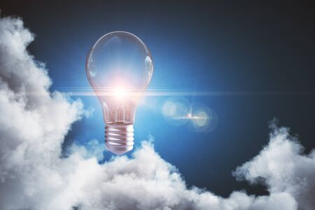 Abstract cloudy sky with glowing lamp. Idea concept. 3D Rendering  Stock fotó