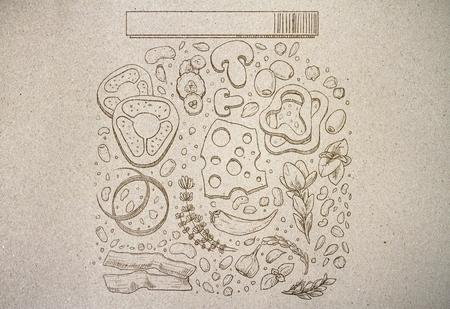Abstracte voedselkruik die op grijze document achtergrond trekken. Kunst concept Stockfoto