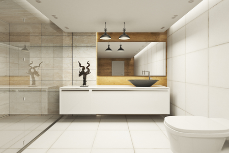 Creative bathroom interior with refelctions on wall. 3D Rendering