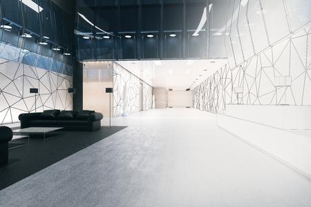 끝나지 않은 사무실 방 인테리어. 엔지니어링 및 프로젝트 개념입니다. 3D 렌더링 스톡 콘텐츠