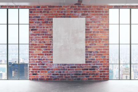 Abstract rood baksteenbinnenland met lege banner op muur en panoramische stadsmening. Bespotten, 3D-rendering