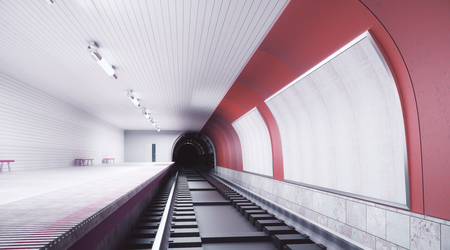 Modern red subway station with billboard on wall. Retail, advertising concept. Mock up, 3D Rendering