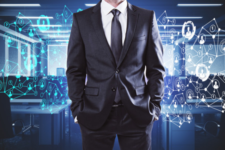 Unrecognizable businessman standing in abstract coworking office interior with night city view and polygonal network. Employment concept. 3D Rendering Stok Fotoğraf - 89432260