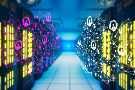 Abstract blurry server room with polygonal network. Internet concept. 3D Rendering Stock Photo