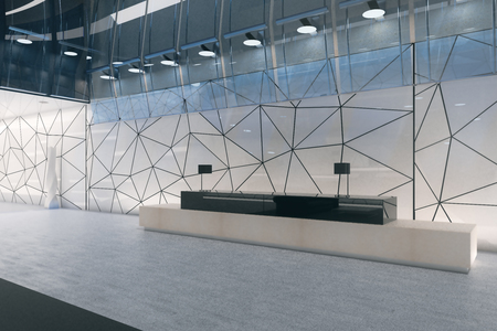 Modern polygonal glass office interior with reception desk. Workplace concept. 3D Rendering Banco de Imagens