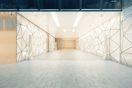 Modern office building corridor with triangular glass pattern on walls and doors. 3D Rendeirng