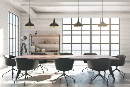 Interior moderno de la sala de reunión del ladrillo blanco con el equipo y la luz del sol. Representación 3D Foto de archivo - 89432221