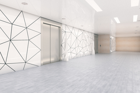 Zijaanzicht van moderne bedrijfskantoorzaal met liften. Opstarten en ondernemerschap concept. 3D-weergave