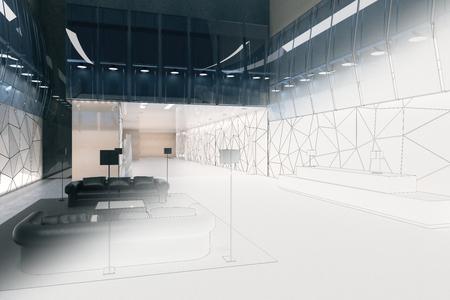 未完成のオフィスルームのインテリア。エンジニアリングとアーキテクチャの概念。3D レンダリング 写真素材