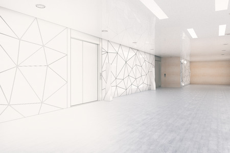 Unfinished office room interior. Engineering and plan concept. 3D Rendering Stock fotó