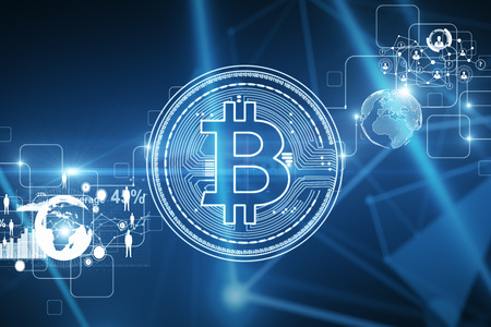 創造的なデジタルは、ビットコインの背景を光る。仮想通貨とビジネスコンセプト3D レンダリング 写真素材