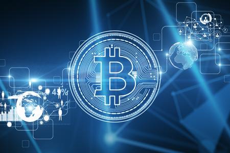 Creatieve digitale gloeiende bitcoin achtergrond. Cryptocurrency en bedrijfsconcept. 3D-weergave Stockfoto