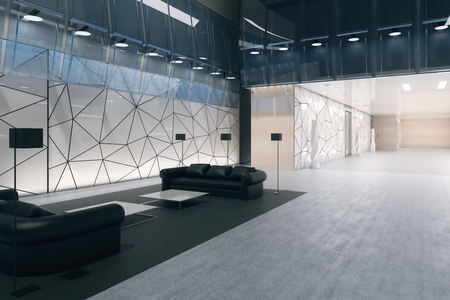 Luxurious polygonal glass office interior with business lounge. Side view. 3D Rendering