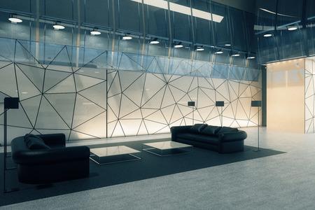 비즈니스 라운지와 새로운 다각형 유리 사무실 인테리어입니다. 측면보기. 3D 렌더링
