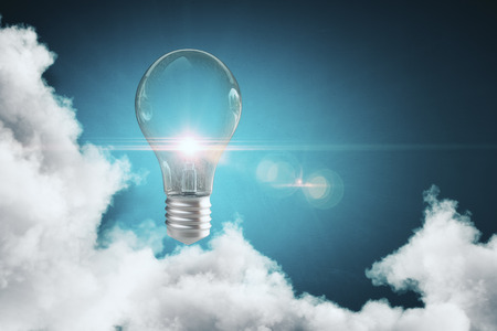 Abstract cloudy sky with glowing lamp. Solution concept. 3D Rendering