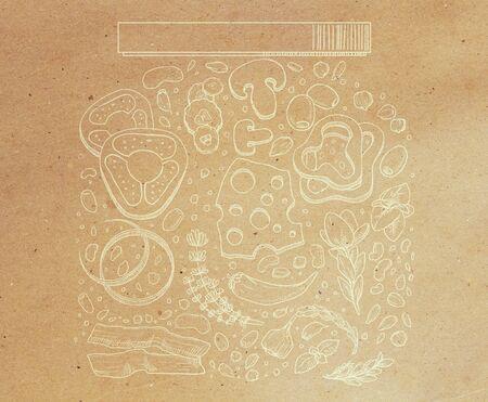 Abstracte voedselkruik die op pakpapierachtergrond trekken. Doodle concept