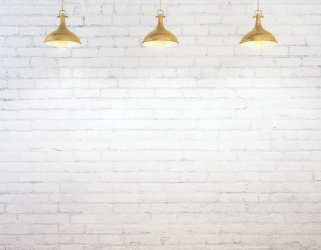 Lege witte bakstenen muur verlicht met plafondlampen. Advertentie concept. Bespotten, 3D-rendering