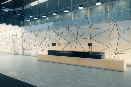 Creative polygonal glass office interior with reception desk. Workplace concept. 3D Rendering