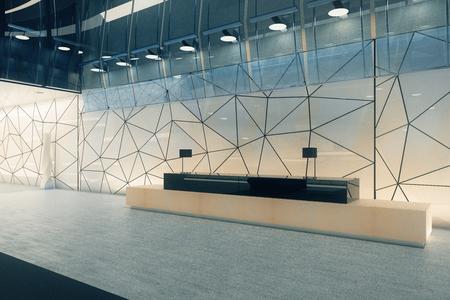 Intérieur de bureau en verre polygonal créatif avec réception. Concept de lieu de travail. Rendu 3D