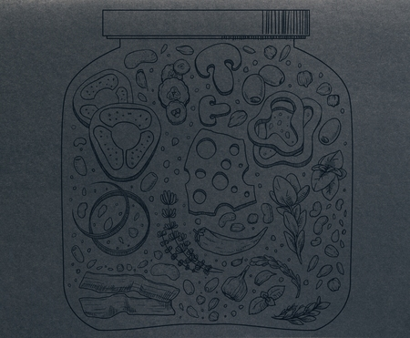 Abstract food jar drawing on dark paper background. Healthy eating concept