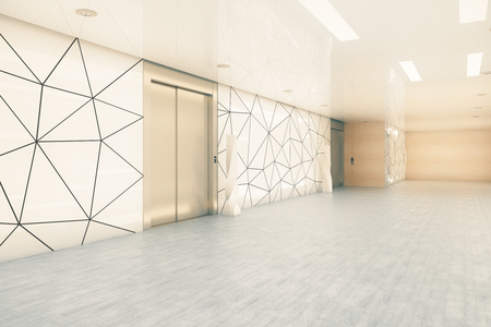 Side view of modern business office corridor with elevators. Startup and entrepreneurship concept. 3D Rendering