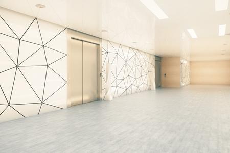 Zijaanzicht van moderne bedrijfsbureaugang met liften. Opstarten en ondernemerschap concept. 3D-weergave