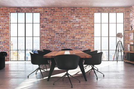 Contemporary red brick meeting room interior with equipment, city view and daylight. 3D Rendering