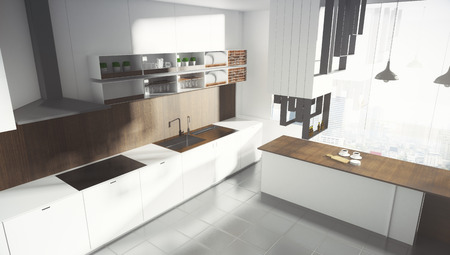 Contemporary white kitchen studio interor with city view and sunlight. 3D Rendering  Reklamní fotografie