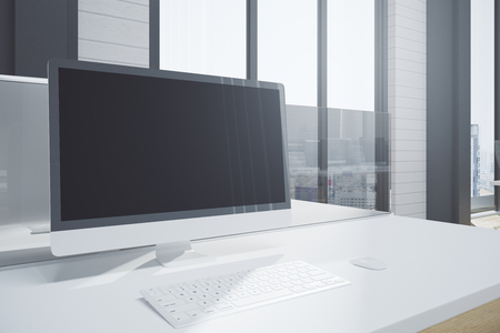 Close up of creative designer desktop with empty computer screen and keyboard. City view and sunlight background. Mock up, 3D Rendering