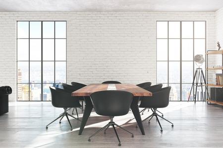 Intérieur de salle de conférence moderne en briques blanches avec équipement, vue sur la ville et lumière du jour. Rendu 3D