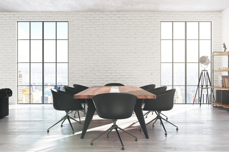 Modern white brick conference room interior with equipment, city view and daylight. 3D Rendering