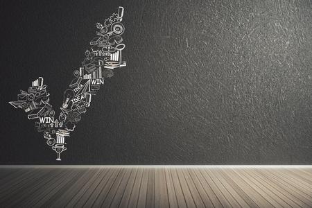 벽에 비즈니스 스케치와 미니멀 인테리어입니다. 성공과 리더십 개념입니다. 3D 렌더링