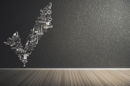 Minimalistisch binnenland met bedrijfsschets op muur. Succes en leiderschap concept. 3D-weergave