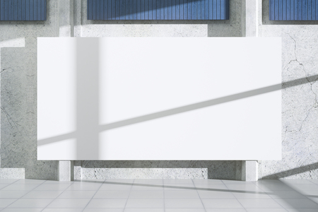 Concrete exterior with shadows, sunlight and poster wall. Advertisement concept. Mock up, 3D Rendering  Stock Photo