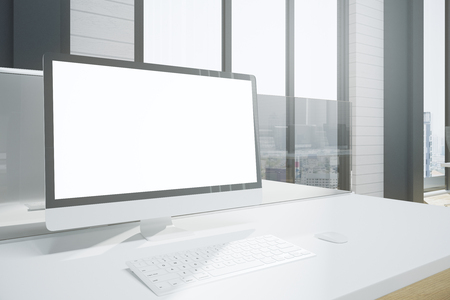 Close up of creative designer desktop with blank white computer screen and keyboard. City view and sunlight background. Mock up, 3D Rendering