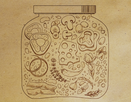 Abstract food jar drawing on brown paper background. Element concept  Zdjęcie Seryjne